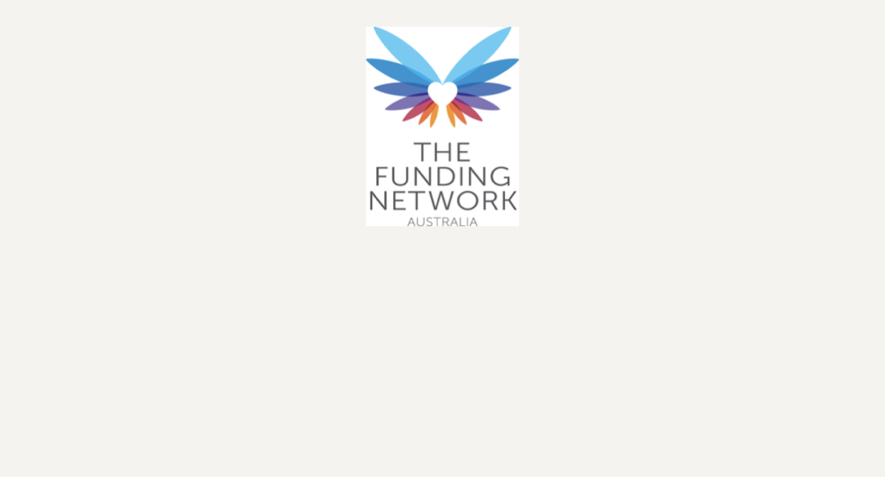 The logo for The Funding Network Australia. Two multicolour wings spread out with a white heart between them