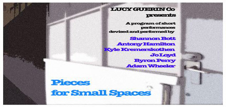 Flier for Pieces for Small Spaces season with blue, purple and black text on a white a grey image of a door