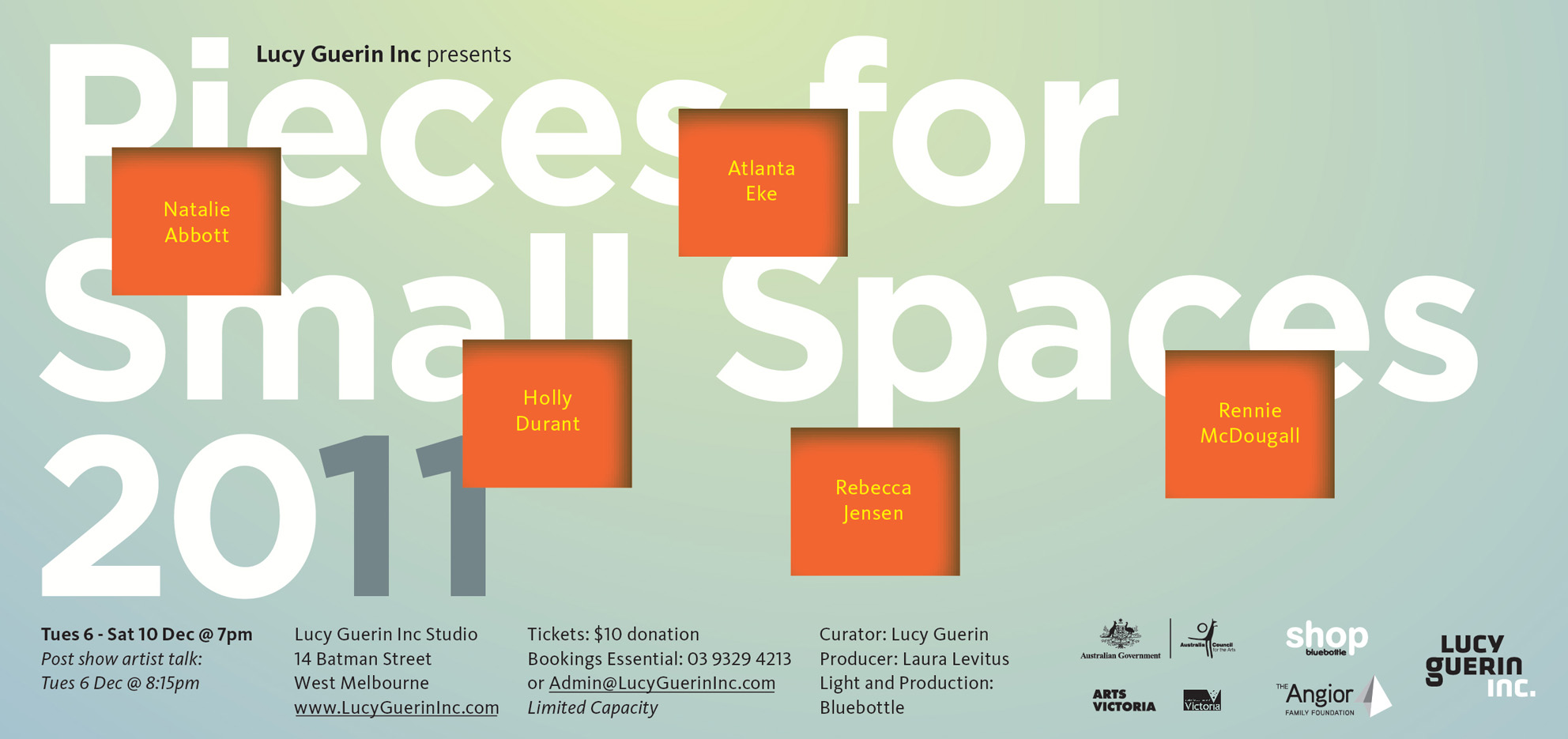 Poster for Pieces for Small Spaces 2011 with orange squares on a light green background