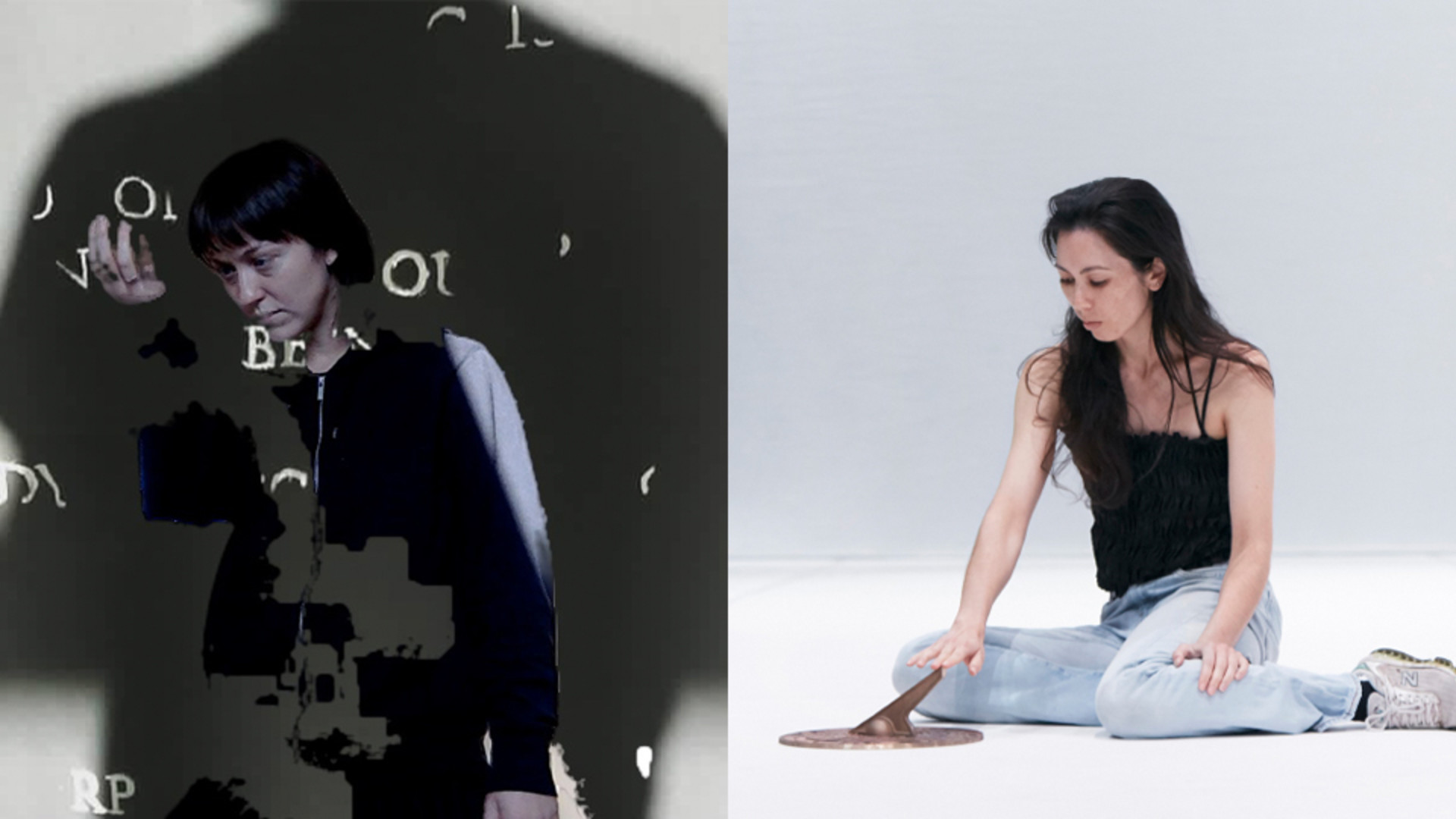 Two images are side by side. On the left, a woman stares down at her palm against a backdrop of a grey wall with white letters scattered across it. On the right, a woman sits on a white floor with her index finger placed on a brass sundial.