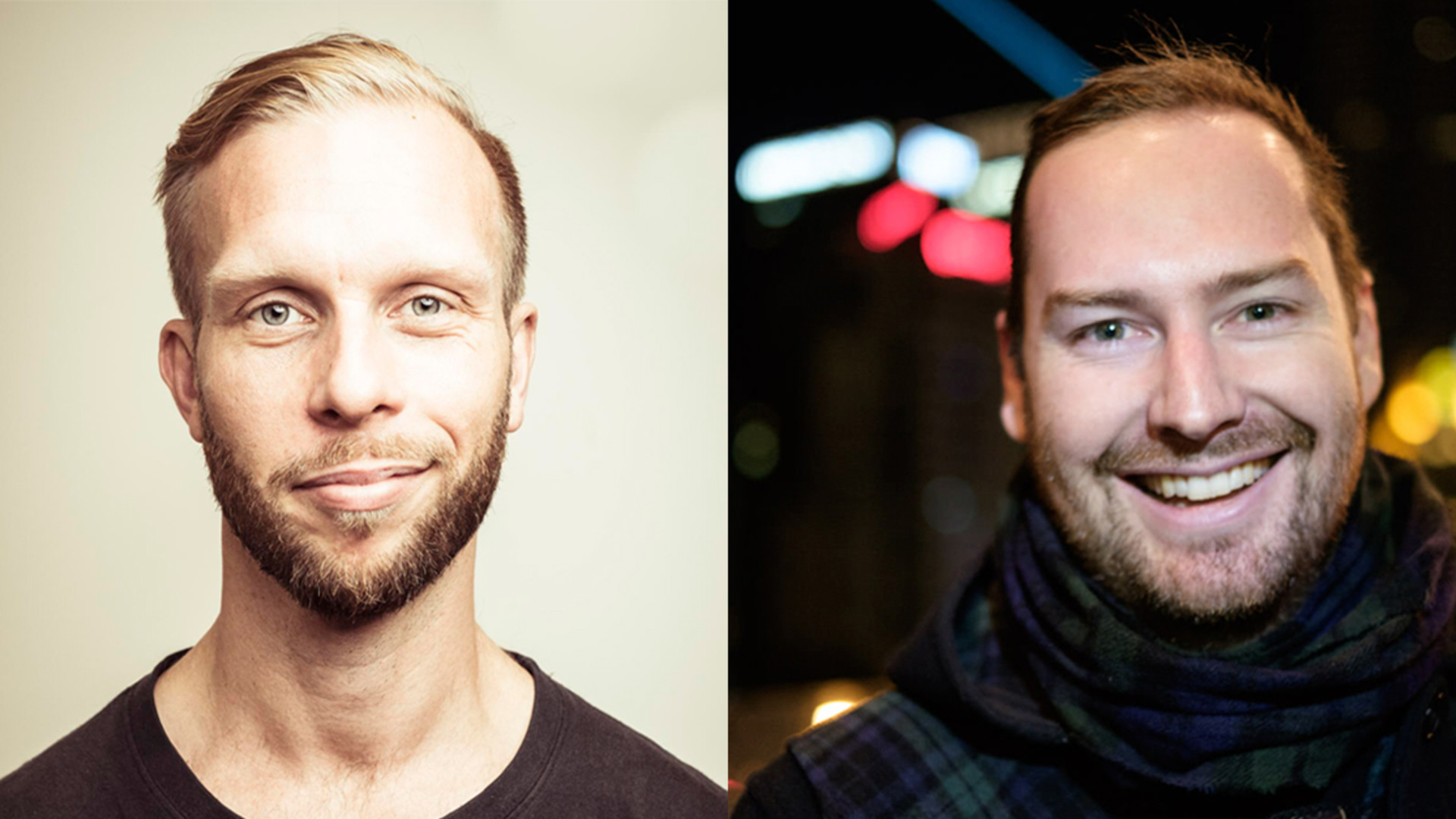 Two images side-by-side, two men with beards smiling