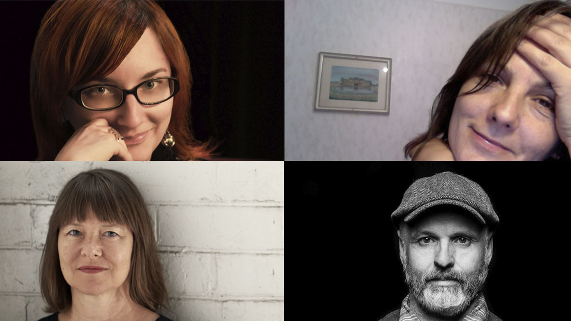 A collaged image of four close-up headshots, three women and one man. Clockwise from top left: Angela Conquet, Rebecca Hilton, Phillip Adams and Lucy Guerin