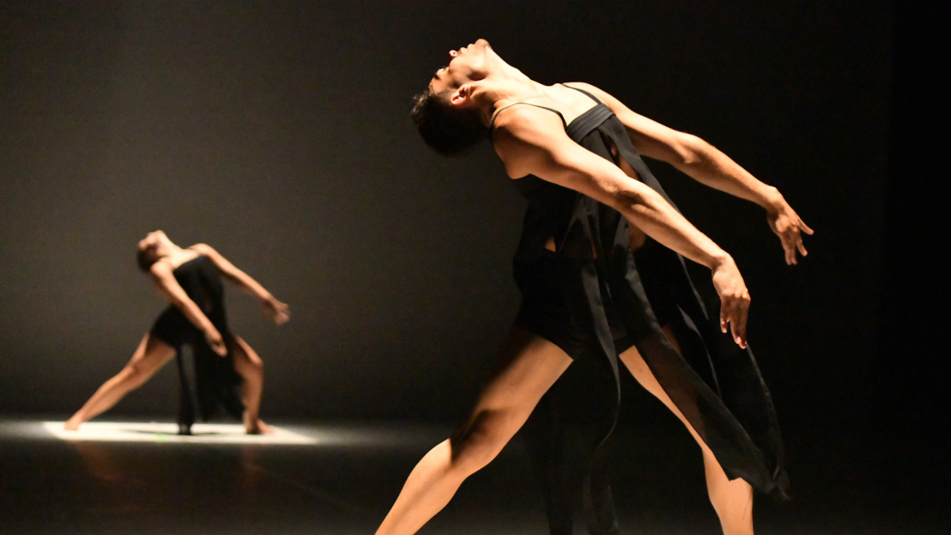 Two dancers on stage in spotlights. They are in a side lunge, arms outstretched and heads thrust back.